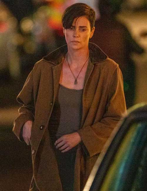 Brown Trench Cotton coat worn by Charlize Theron in The Old Guard