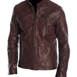 Mens Cafe Racer Maroon Moto Biker Jacket