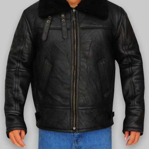 Men Aviator Bomber Black Sheepskin Leather Jacket