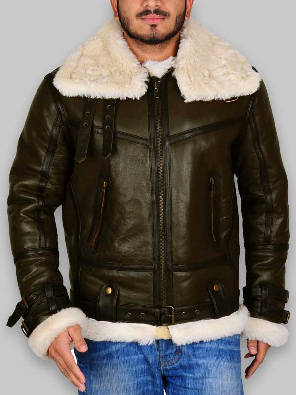 Army Green WWII Bomber Shearling Jacket For Mens