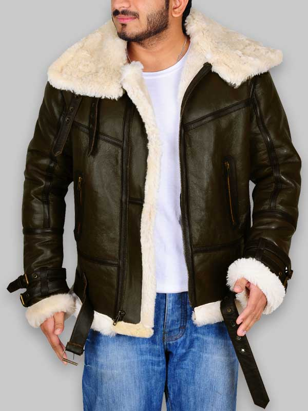 B3 Army Green Men Bomber Fur Shearling Leather Jacket