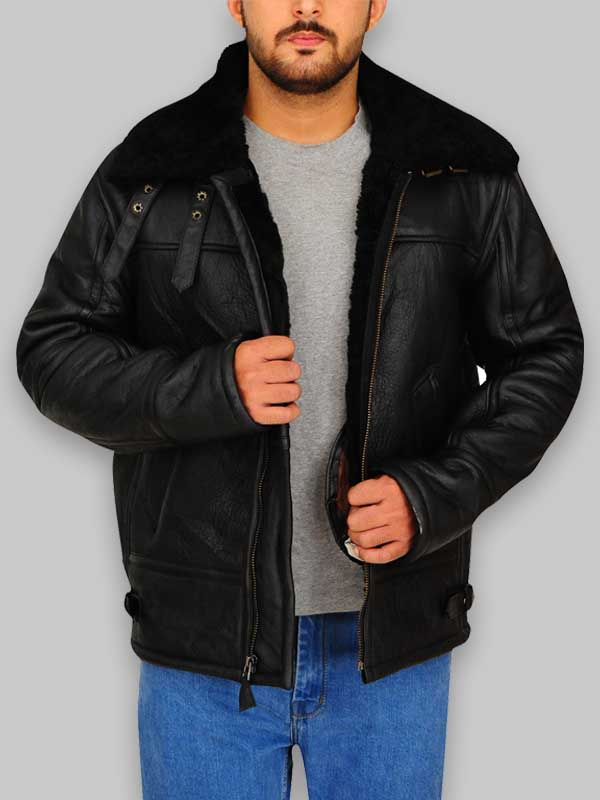Aviator Bomber Real Sheepskin B3 Black Leather Jacket For Mens