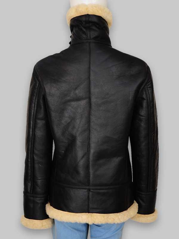 B3 Women's Fur Shearling Black Leather Jacket