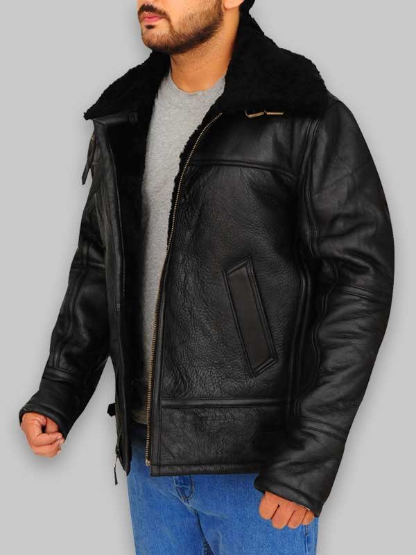 B3 Avaitor Bomber Black Shearling Jacket
