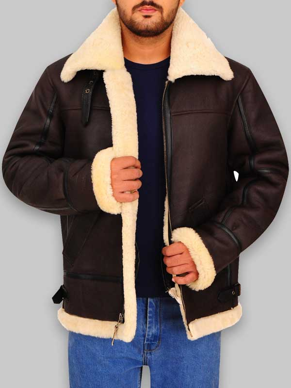 Men Aviator Sheepskin Brown Leather Bomber Jacket