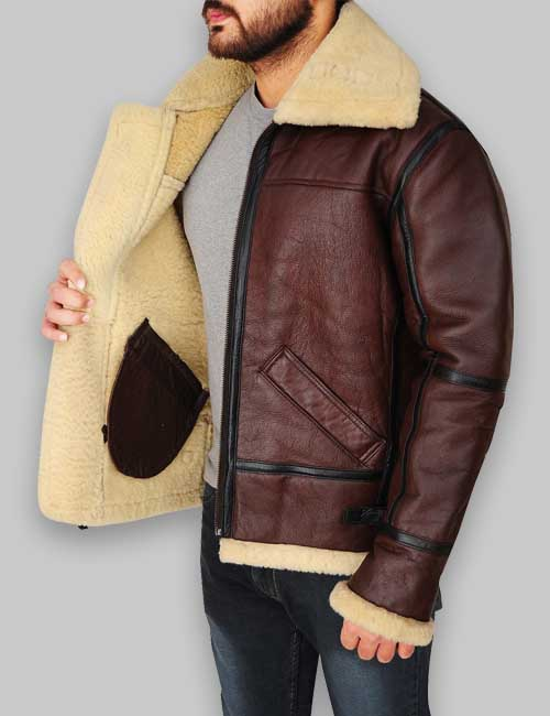 shearling moto bomber leather jacket for mens