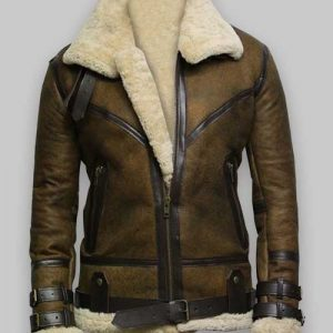 sheepskin flying Olive Green Bomber Mens jacket