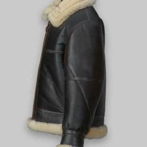 Men Flying B3 Shearling Black Leather Jacket