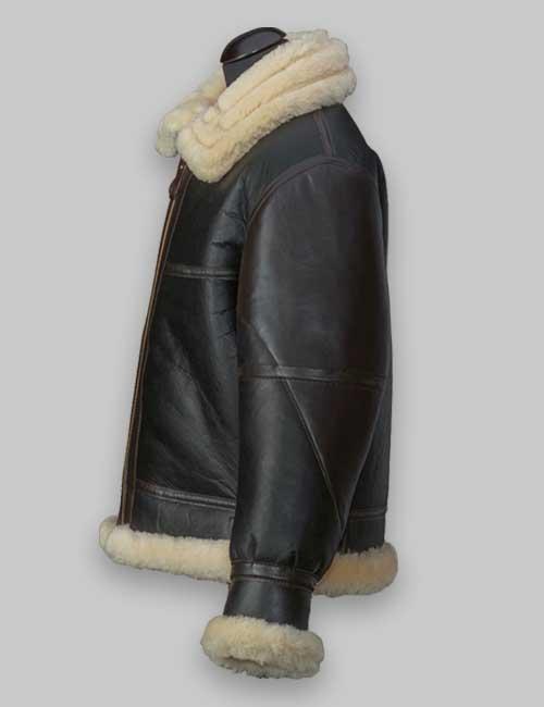 Men Flying B3 Shearling Black Leather Jacket