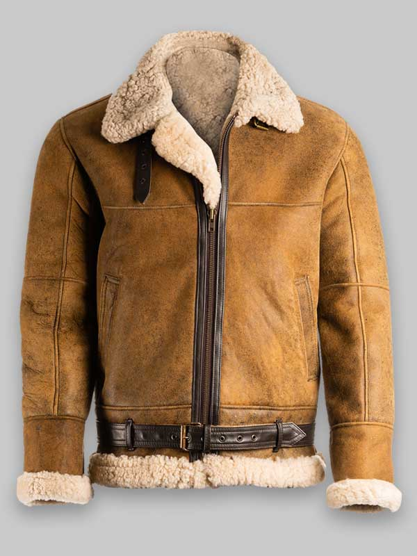 Real Sheepskin B3 Brown Leather Jacket For Mens