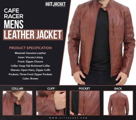 Benjamin Mens Cafe Racer Brown Leather Jacket