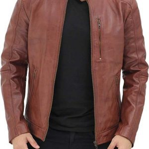 Benjamin-Mens-Cafe-Racer-Brown-Leather-Jacket