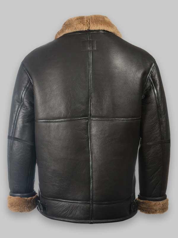 RAF Black Aviator Shearling Jacket For Mens
