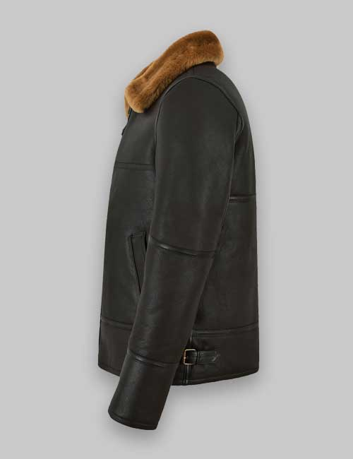 Men Jet Black Sheepskin Shearling Leather Jacket