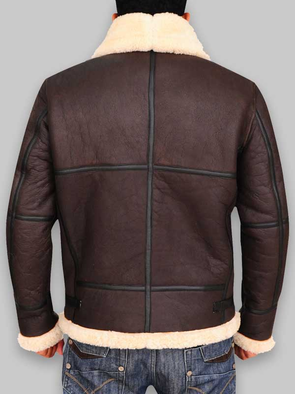 B3 Bomber Men Aviator Brown Sheepskin Leather Jacket