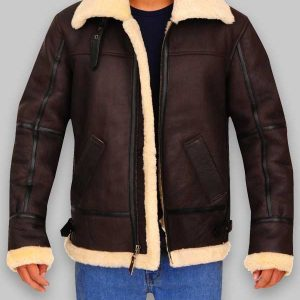 Brown Color Aviator Sheepskin B3 Bomber Mens Jacket