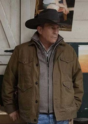 Kevin Costner Yellowstone Season 02 John Dutton Brown Cotton Jacket