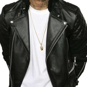 Chris Brown Black Bomber Hooded Leather Jacket