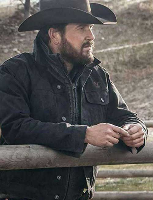 Cole Hauser Yellowstone Rip Wheeler Black Cotton Jacket