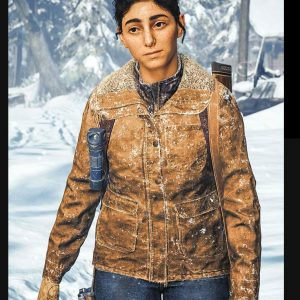 Dina Brown Leather Jacket With Shearling Collar From The-Last Of Us Part II
