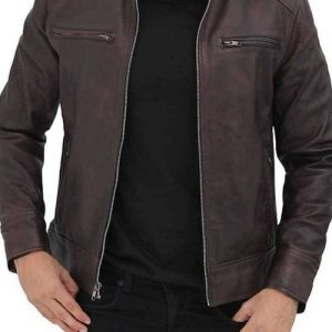Dodge Men Brown Cafe Racer Leather Jacket