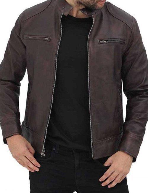 Dodge Men Brown Cafe Racer Leather Jacket