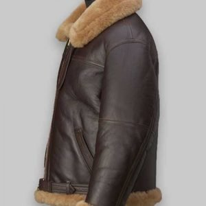 Men RAF Flight Brown Shearling Jacket
