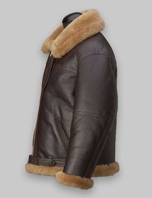 Men RAF Flight Brown Shearling Jacket