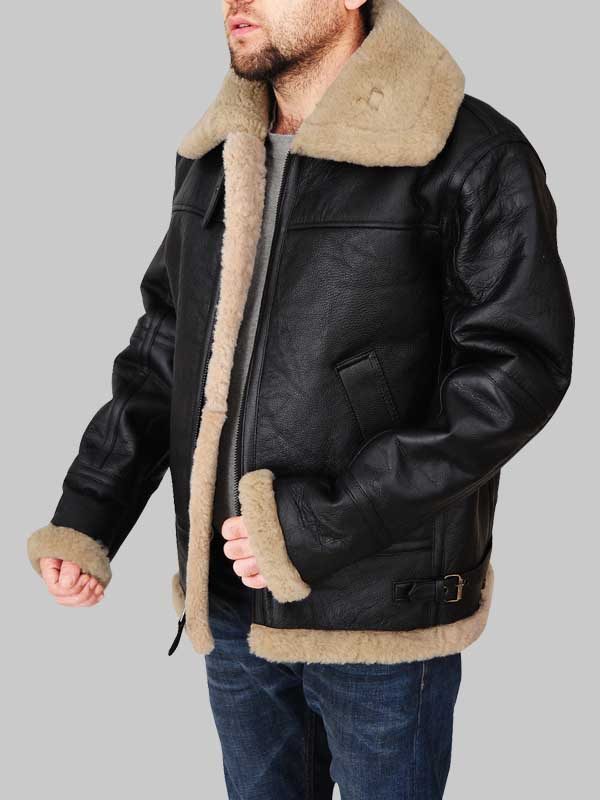 Flying Aviator Black Bomber Shearling Jacket