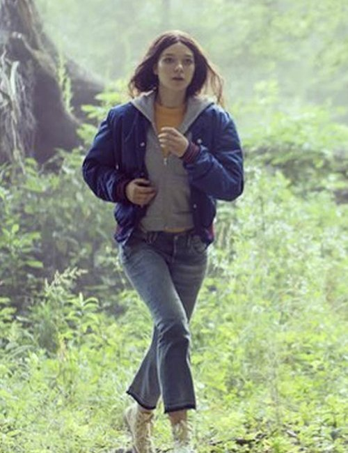 Bomber Blue Jacket worn by Esme Creed-Miles as seen in Hanna S02
