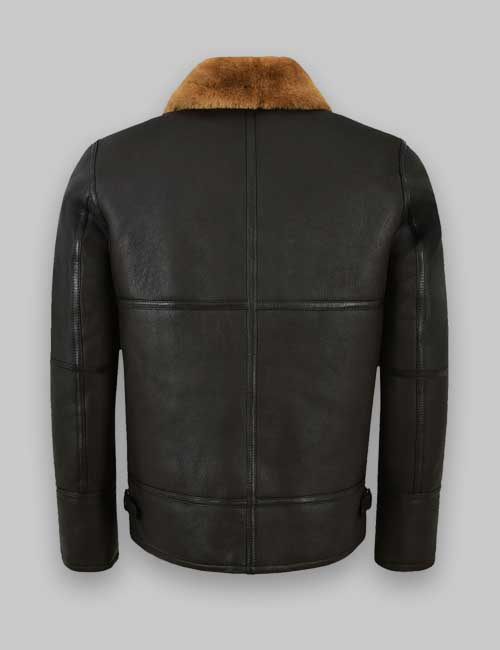 Black Real Sheepskin Shearling Leather Jacket For Men