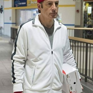 White Track Jacket woorn by Jimmy Mcgill in TV Series Better Call Saul