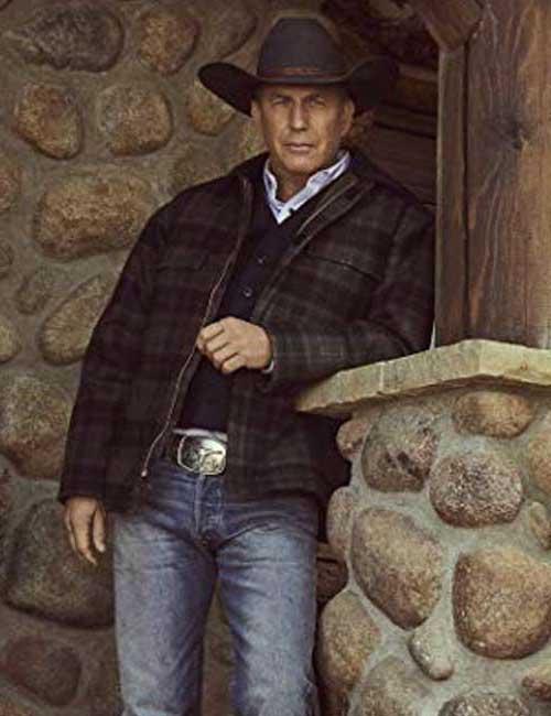 Kevin Costner Yellowstone Season 02 John Dutton Plaid Jacket