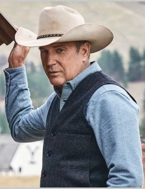 Wool Grey Vest Worn by Kevin Costner in Tv Series Yellowstone
