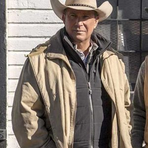 Western Style Beige Color Jacket worn by Kevin Costner in TV Series Yellowstone