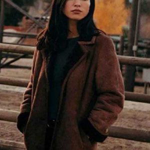 Kelsey Asbille Yellowstone Series Kelsey Asbille Brown Shearling Coat