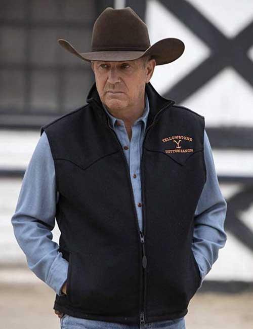Kevin Costner TV Series Yellowstone Black John Dutton Vest
