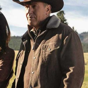 Brown Corduroy Sherpa Jacket worn by Kevin Costner in Tv Series Yellowstone