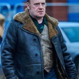 Fur Shearling Collar Coat worn by Kinney Edwards in TV Series Gangs of London