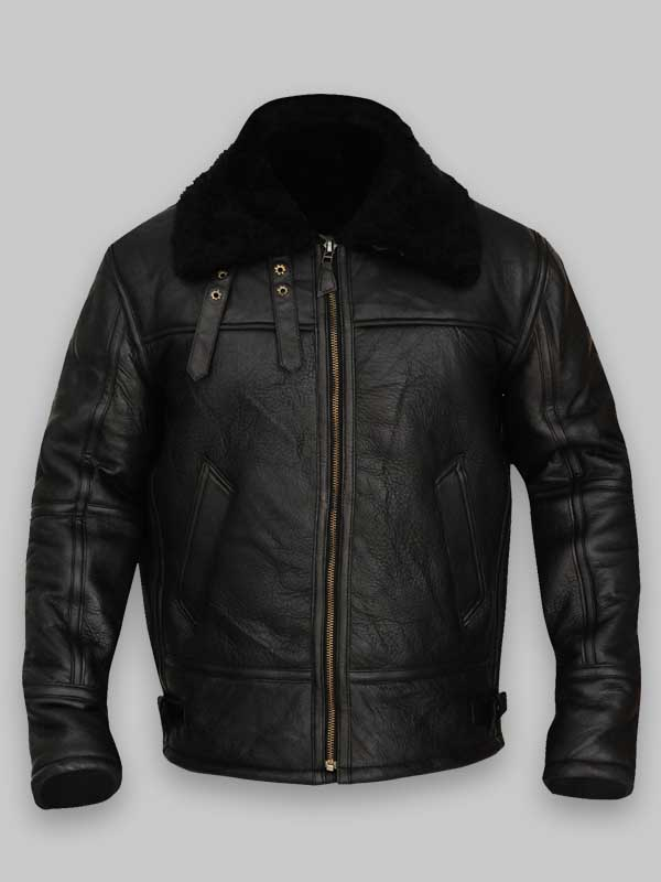 Bomber Black Sheepskin B3Leather Avaitor Jacket Mens