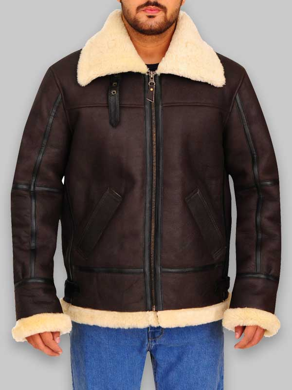 Men Avaitor Bomber Shealring Leather Jacket