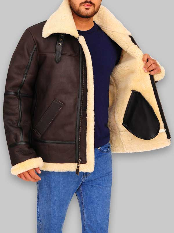 Men Aviator Sheepskin Bomber Brown Leather Jacket