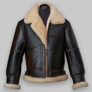 B3 Flying Men Black Shearling Leather Jacket