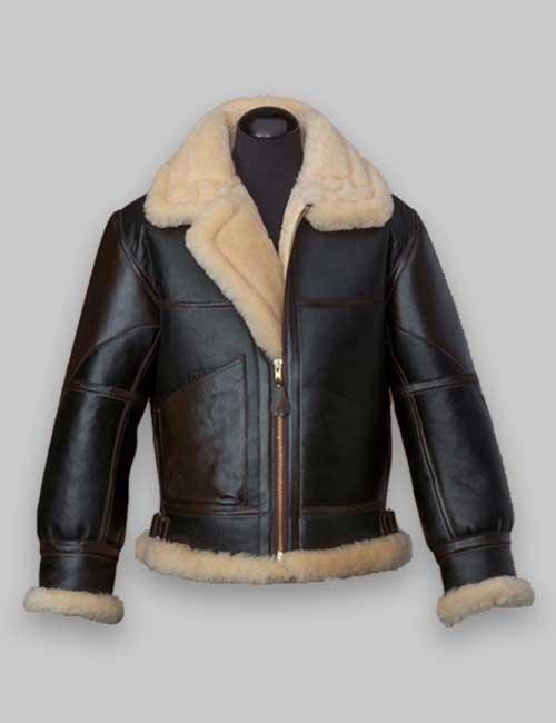 B3 Flying Men Black Shearling Leather Jacket