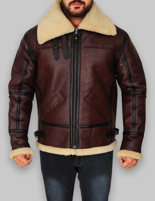 faux shearling brown Leather jacket for mens