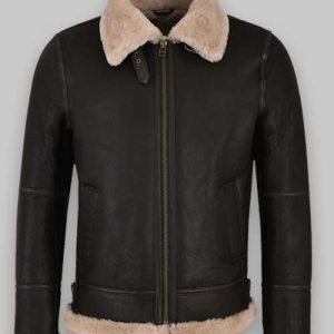 Black Real Sheepskin Leather Men Shearling Jacket