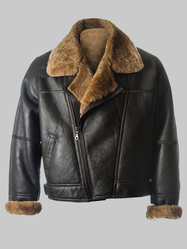 B3 Men Shealring Black Sheepksin Leather Jacket