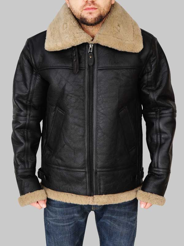 Flying Aviator Men B3 Black Bomber Shearling Leather Jacket
