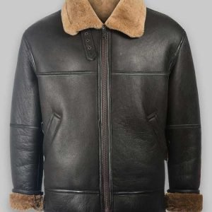 Black Aviator RAF Black Shearling Jacket For Mens