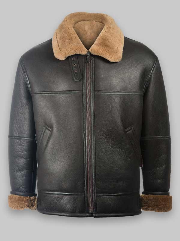 Black Aviator RAF Black Shearling Jacket For Mens